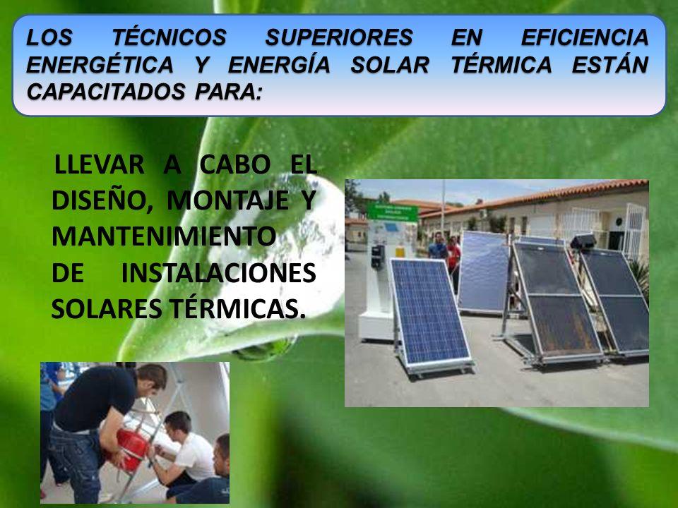 LLEVAR A CABO EL DISEÑO, MONTAJE Y MANTENIMIENTO DE INSTALACIONES SOLARES TÉRMICAS. LOS TÉCNICOS SUPERIORES EN EFICIENCIA ENERGÉTICA Y ENERGÍA SOLAR T