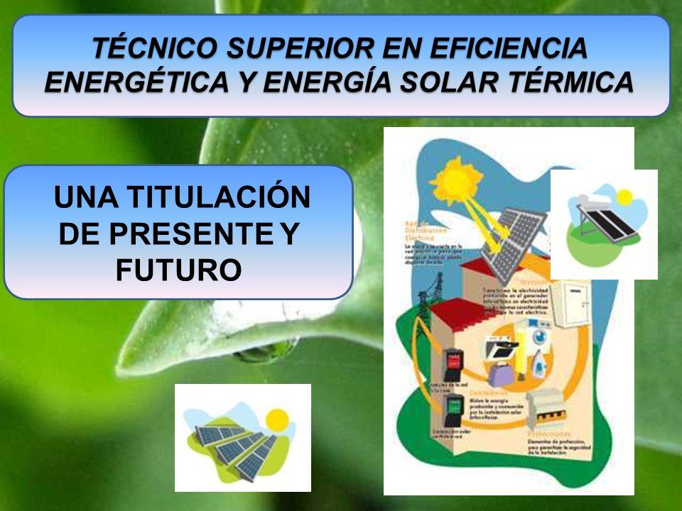 TÉCNICO SUPERIOR EN EFICIENCIA ENERGÉTICA Y ENERGÍA SOLAR TÉRMICA UNA TITULACIÓN DE PRESENTE Y FUTURO