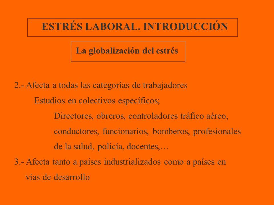 ESTRÉS LABORAL. INTRODUCCIÓN 2.- Afecta a todas las categorías de trabajadores Estudios en colectivos específicos; Directores, obreros, controladores