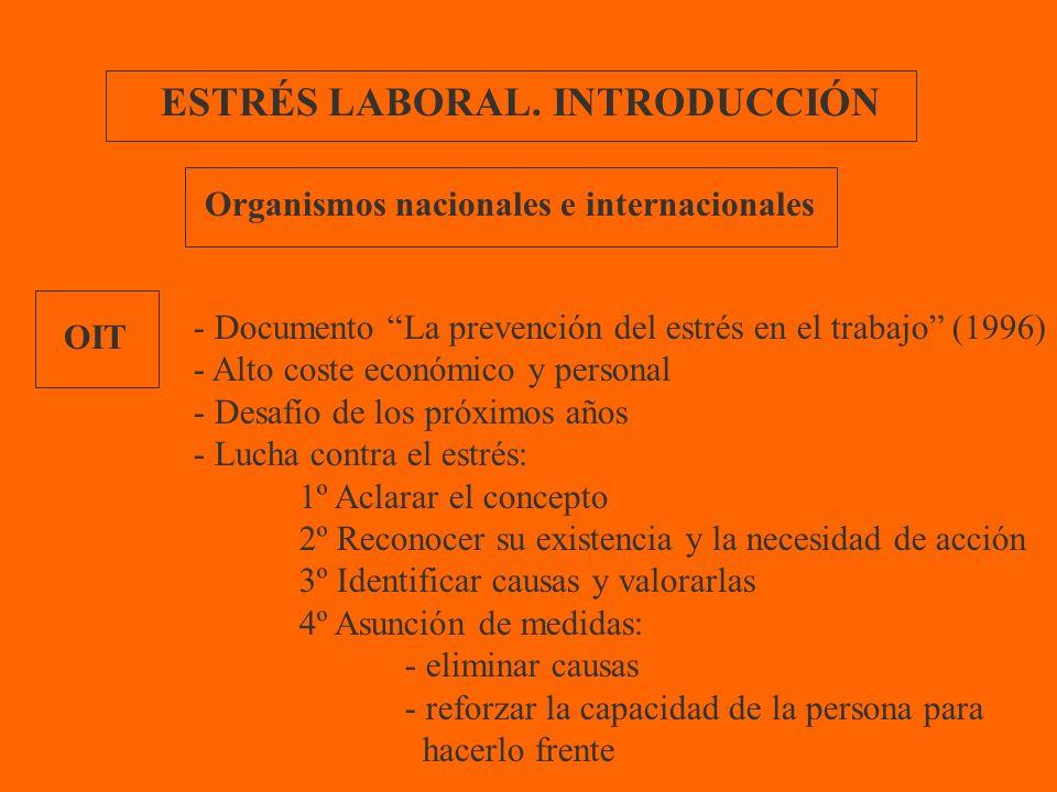 ESTRÉS LABORAL. INTRODUCCIÓN OIT Organismos nacionales e internacionales - Documento La prevención del estrés en el trabajo (1996) - Alto coste económ