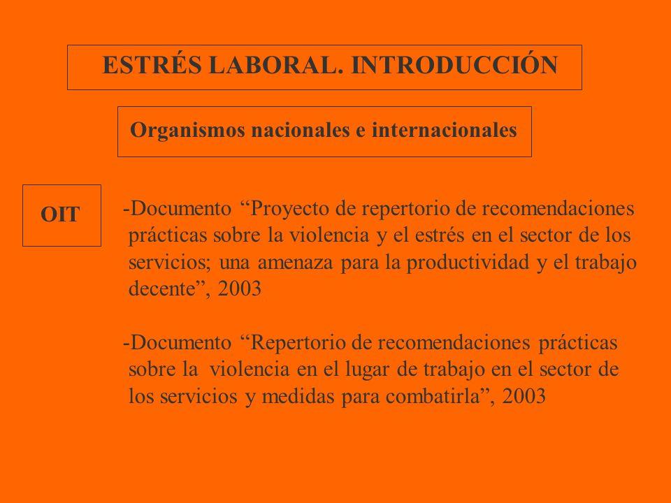 ESTRÉS LABORAL. INTRODUCCIÓN OIT Organismos nacionales e internacionales -Documento Proyecto de repertorio de recomendaciones prácticas sobre la viole