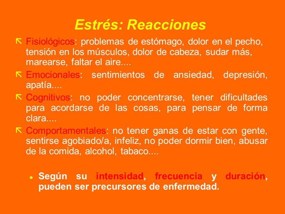 Estrés: Reacciones ãFisiológicos: problemas de estómago, dolor en el pecho, tensión en los músculos, dolor de cabeza, sudar más, marearse, faltar el a