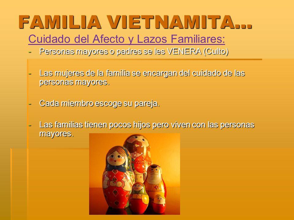 FAMILIA VIETNAMITA… Cuidado del Afecto y Lazos Familiares: -Personas mayores o padres se les VENERA (Culto) -Las mujeres de la familia se encargan del