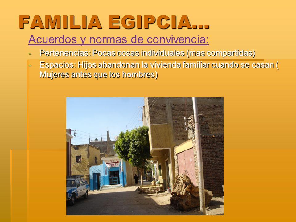 FAMILIA EGIPCIA… Acuerdos y normas de convivencia: -Pertenencias: Pocas cosas individuales (mas compartidas) -Espacios: Hijos abandonan la vivienda fa