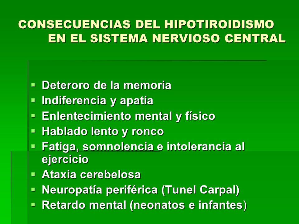 CONSECUENCIAS DEL HIPOTIROIDISMO EN EL SISTEMA NERVIOSO CENTRAL Deteroro de la memoria Deteroro de la memoria Indiferencia y apatía Indiferencia y apa