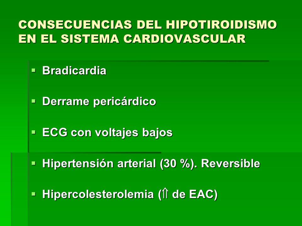 CONSECUENCIAS DEL HIPOTIROIDISMO EN EL SISTEMA CARDIOVASCULAR Bradicardia Bradicardia Derrame pericárdico Derrame pericárdico ECG con voltajes bajos E