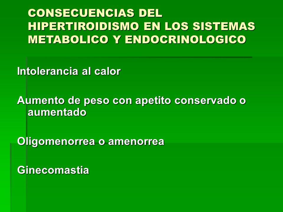 CONSECUENCIAS DEL HIPERTIROIDISMO EN LOS SISTEMAS METABOLICO Y ENDOCRINOLOGICO Intolerancia al calor Aumento de peso con apetito conservado o aumentad