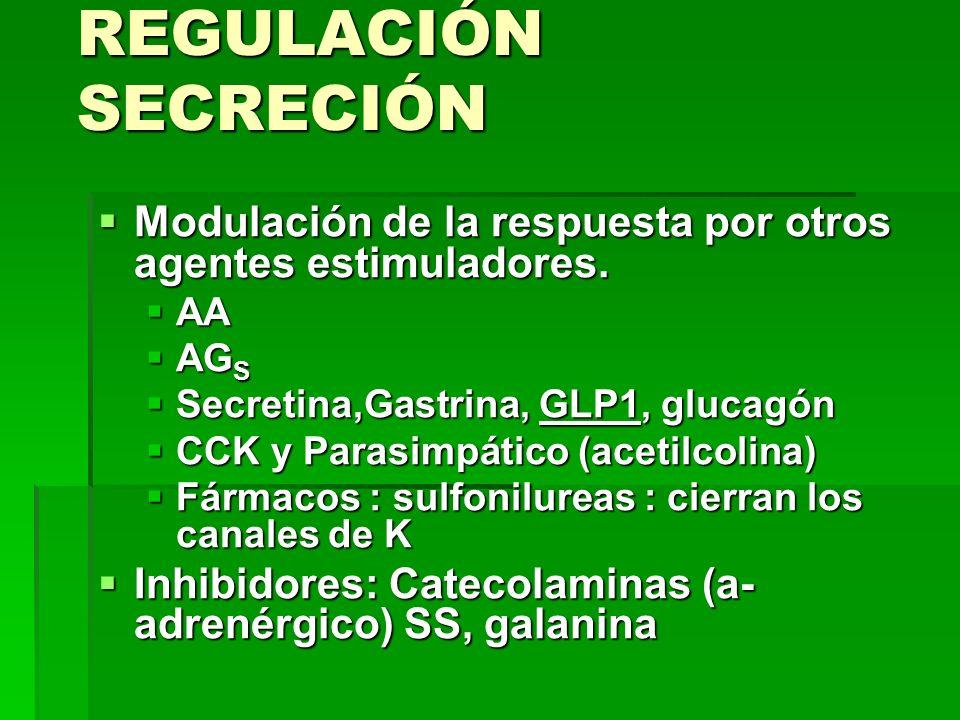 REGULACIÓN SECRECIÓN Modulación de la respuesta por otros agentes estimuladores. Modulación de la respuesta por otros agentes estimuladores. AA AA AG