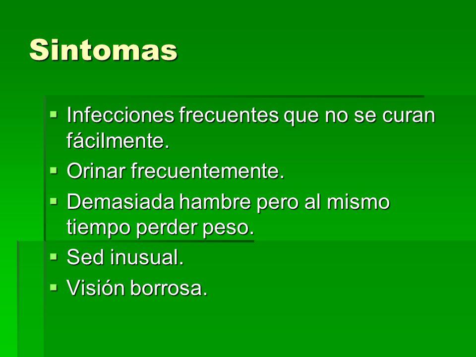 Sintomas Infecciones frecuentes que no se curan fácilmente. Infecciones frecuentes que no se curan fácilmente. Orinar frecuentemente. Orinar frecuente