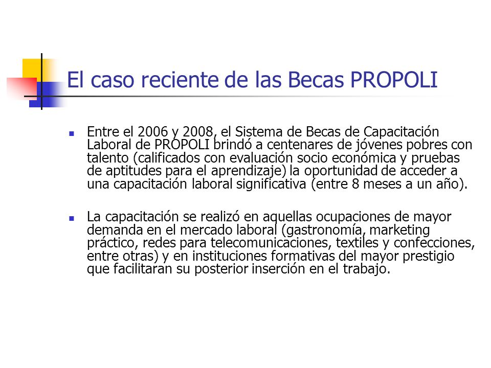 Entre el 2006 y 2008, el Sistema de Becas de Capacitación Laboral de PROPOLI brindó a centenares de jóvenes pobres con talento (calificados con evalua