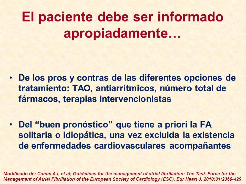 El paciente debe ser informado apropiadamente… De los pros y contras de las diferentes opciones de tratamiento: TAO, antiarrítmicos, número total de f