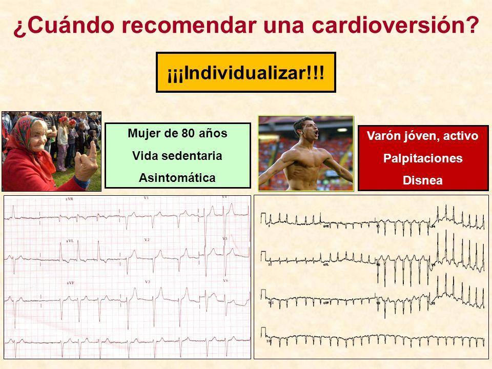 ¡¡¡Individualizar!!! ¿Cuándo recomendar una cardioversión? Mujer de 80 años Vida sedentaria Asintomática Varón jóven, activo Palpitaciones Disnea