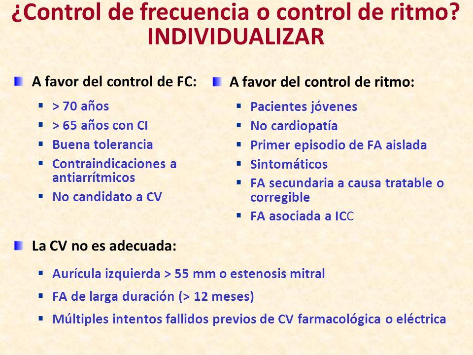 A favor del control de FC: > 70 años > 65 años con CI Buena tolerancia Contraindicaciones a antiarrítmicos No candidato a CV A favor del control de ri