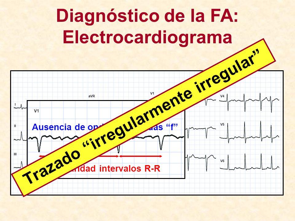 Diagnóstico de la FA: Electrocardiograma I II III aVR aVL aVF V1 V2 V3 V4 V5 V6 V1 Ausencia de ondas P, ondas f Irregularidad intervalos R-R Trazado i