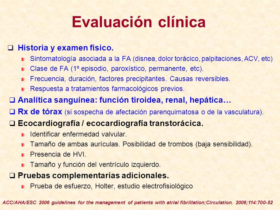 Evaluación clínica Historia y examen físico. Sintomatología asociada a la FA (disnea, dolor torácico, palpitaciones, ACV, etc) Clase de FA (1º episodi