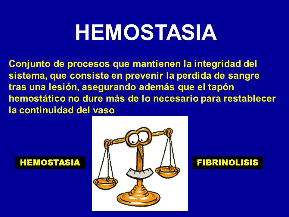 HEMOSTASIA Conjunto de procesos que mantienen la integridad del sistema, que consiste en prevenir la perdida de sangre tras una lesión, asegurando ade