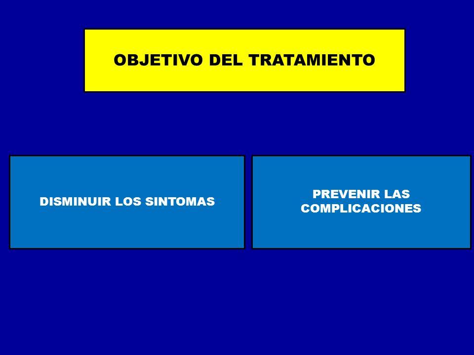 OBJETIVO DEL TRATAMIENTO DISMINUIR LOS SINTOMAS PREVENIR LAS COMPLICACIONES