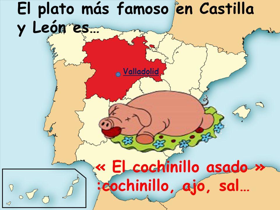 El plato más famoso en Castilla y León es… « El cochinillo asado » :cochinillo, ajo, sal… Valladolid