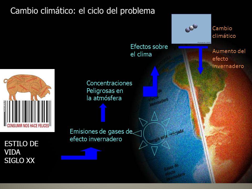 Emisiones de gases de efecto invernadero Concentraciones Peligrosas en la atmósfera Efectos sobre el clima Cambio climático: el ciclo del problema Cam