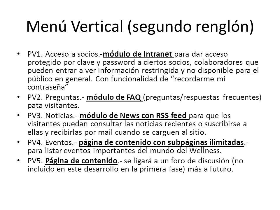 Menú Vertical (segundo renglón) PV1.