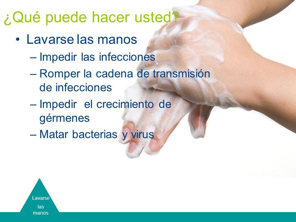Lavarse las manos Lavarse las manos –Impedir las infecciones –Romper la cadena de transmisión de infecciones –Impedir el crecimiento de gérmenes –Mata