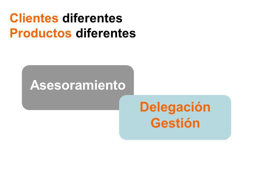 Asesoramiento Delegación Gestión Clientes diferentes, Productos diferentes