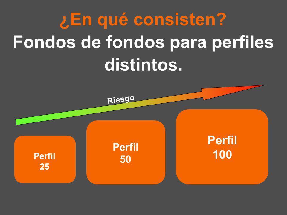 Fondos de fondos para perfiles distintos. Riesgo ¿En qué consisten Perfil 25 Perfil 50 Perfil 100