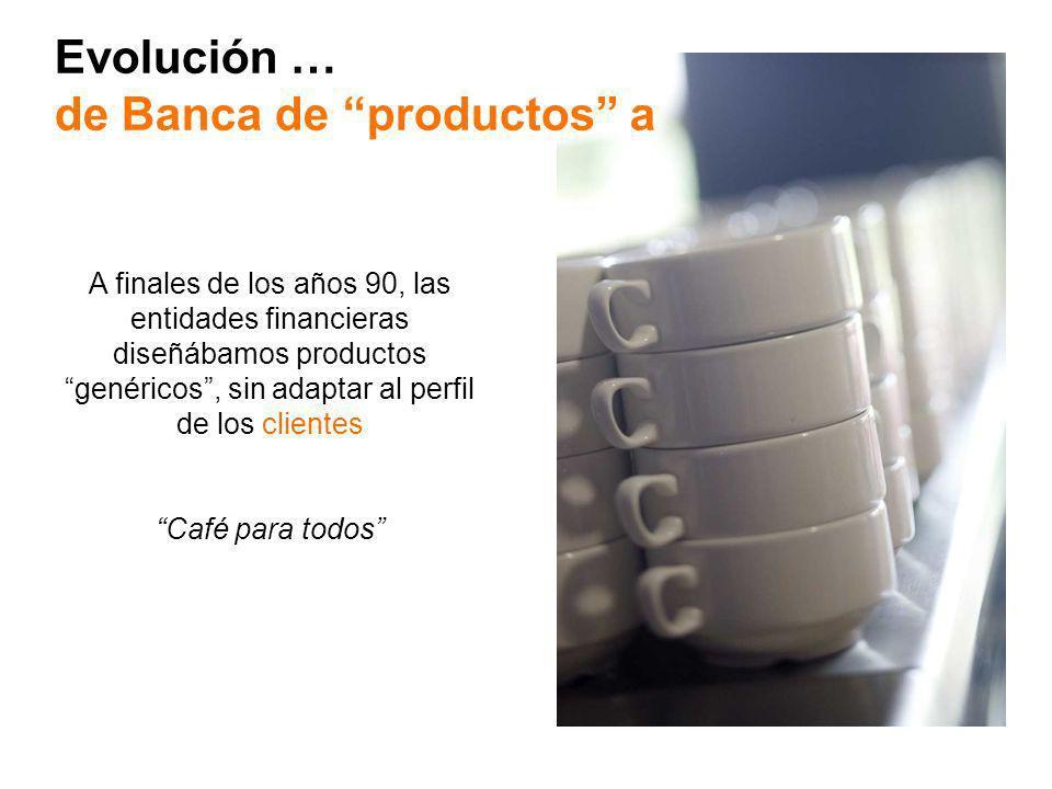 Evolución … de Banca de productos a A finales de los años 90, las entidades financieras diseñábamos productos genéricos, sin adaptar al perfil de los clientes Café para todos