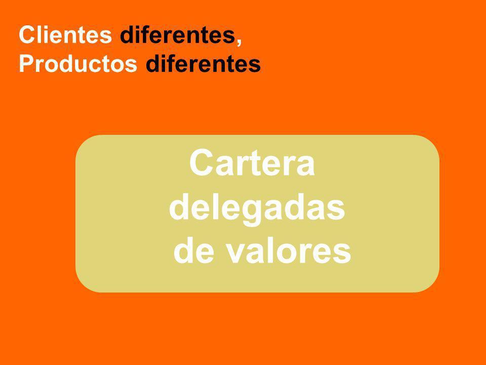 Cartera delegadas de valores Clientes diferentes, Productos diferentes