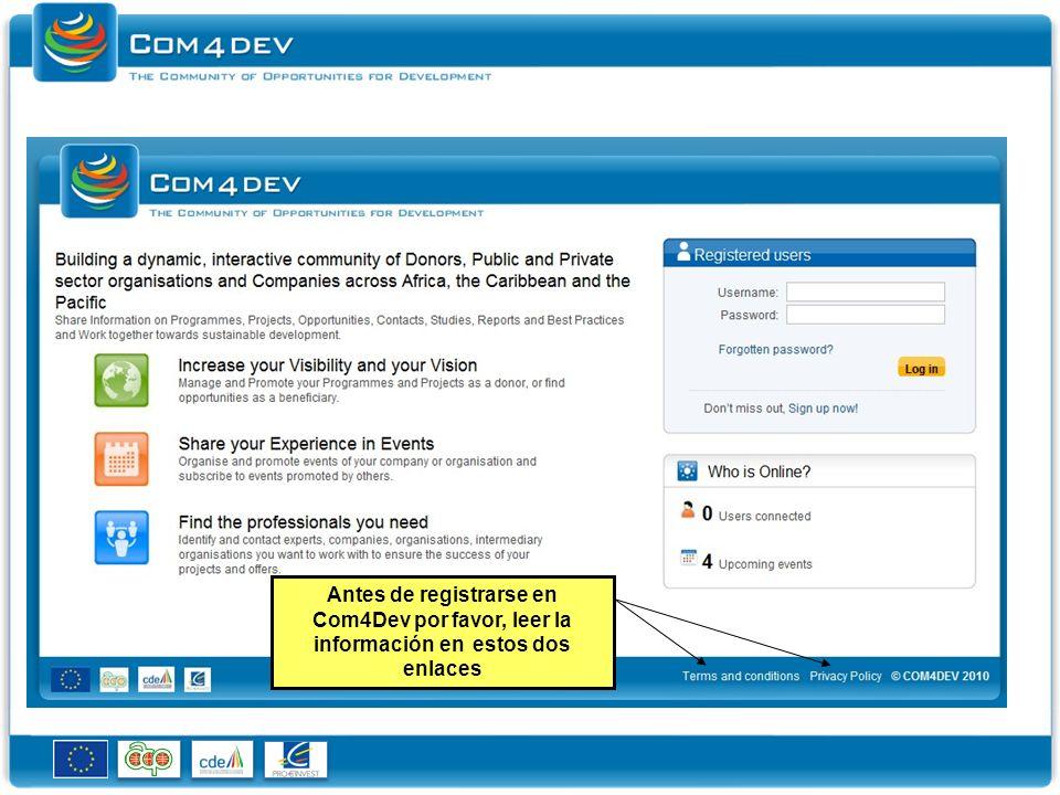 Antes de registrarse en Com4Dev por favor, leer la información en estos dos enlaces