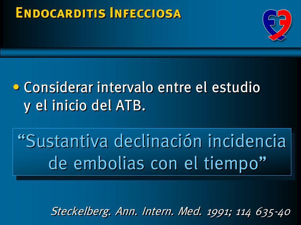 Endocarditis Infecciosa Complicaciones extracardíacas Embolias SNC 15(20,3) 3(17,6) 8(36,7) (1992- 2001) Nº / % Nativas Protésicas Tempranas Protésica