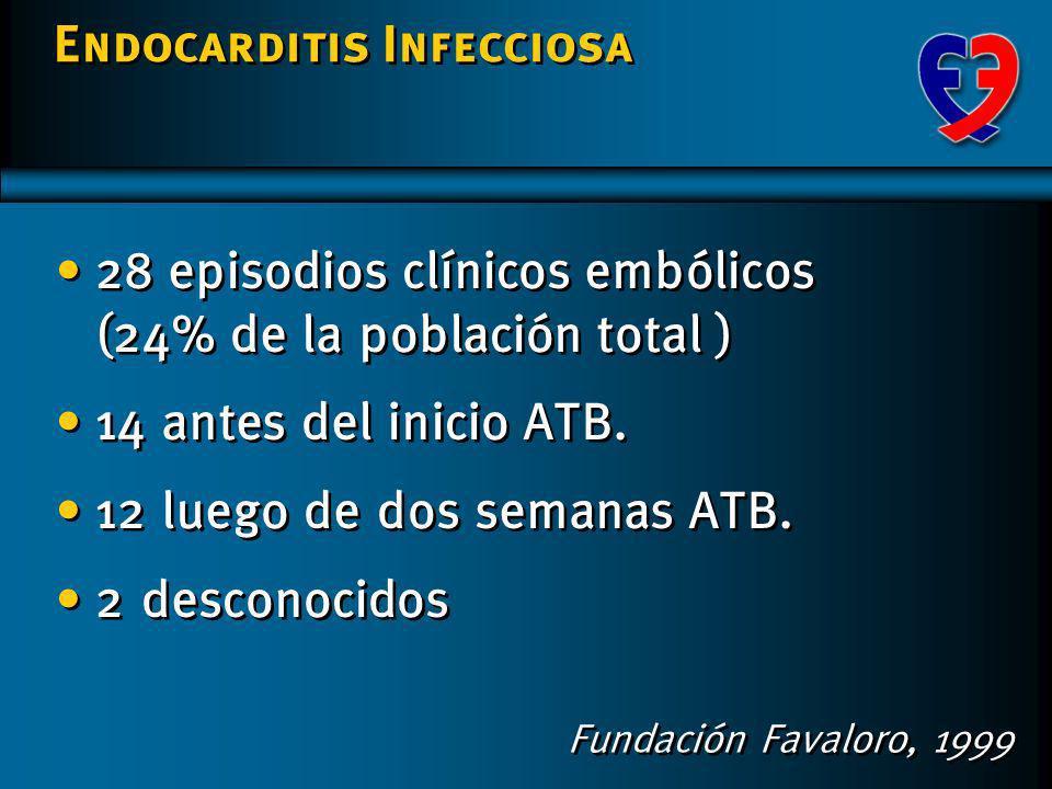 Endocarditis Infecciosa Considerar intervalo entre el estudio y el inicio del ATB. Steckelberg. Ann. Intern. Med. 1991; 114 635-40 Sustantiva declinac