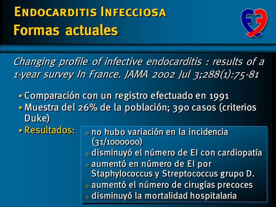 Endocarditis Infecciosa Formas actuales Cambios en la Clínica: o Mayor proporción de formas agudas o Síntomas y signos más inespecíficos Cambios en fa