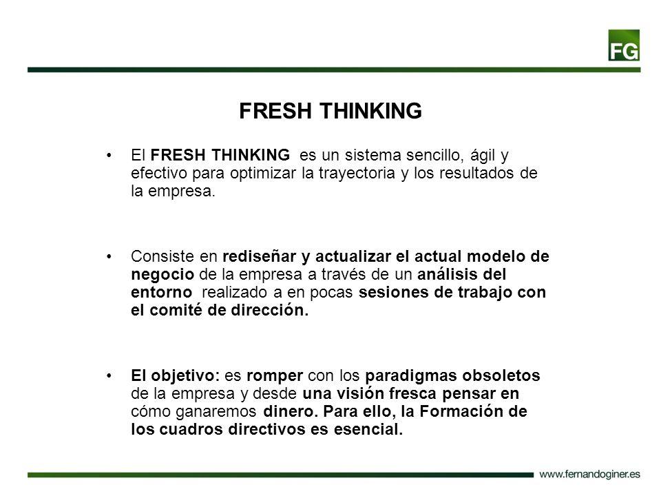 FRESH THINKING El FRESH THINKING es un sistema sencillo, ágil y efectivo para optimizar la trayectoria y los resultados de la empresa. Consiste en red