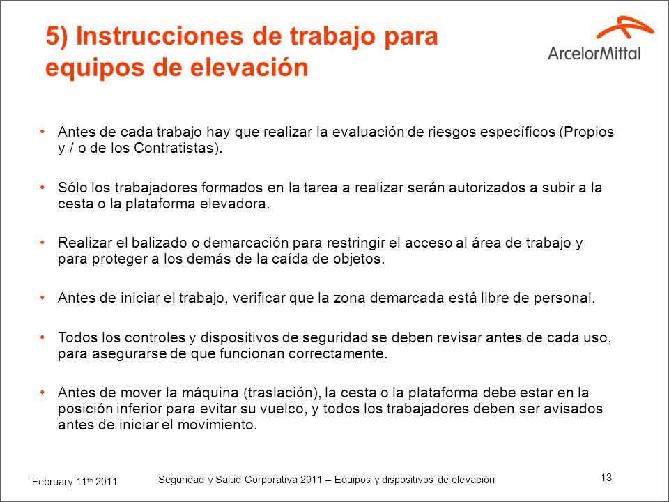 February 11 th 2011 Seguridad y Salud Corporativa 2011 – Equipos y dispositivos de elevación 12 4.2) Adicionales para Cestas de Hombre para Grúas El s