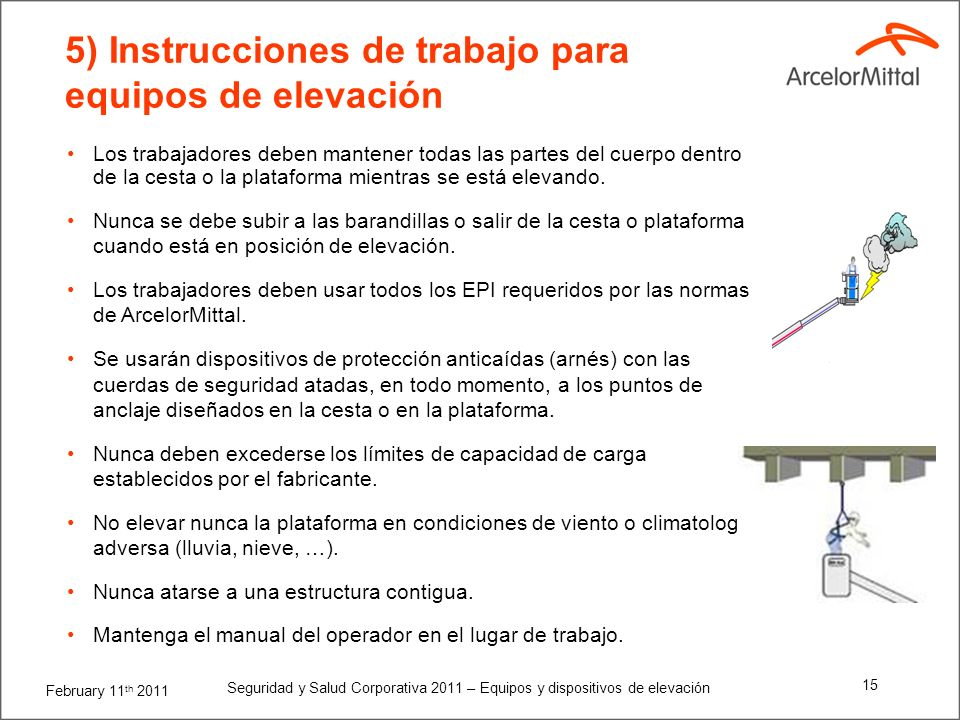 February 11 th 2011 Seguridad y Salud Corporativa 2011 – Equipos y dispositivos de elevación 14 5) Instrucciones de trabajo para equipos de elevación