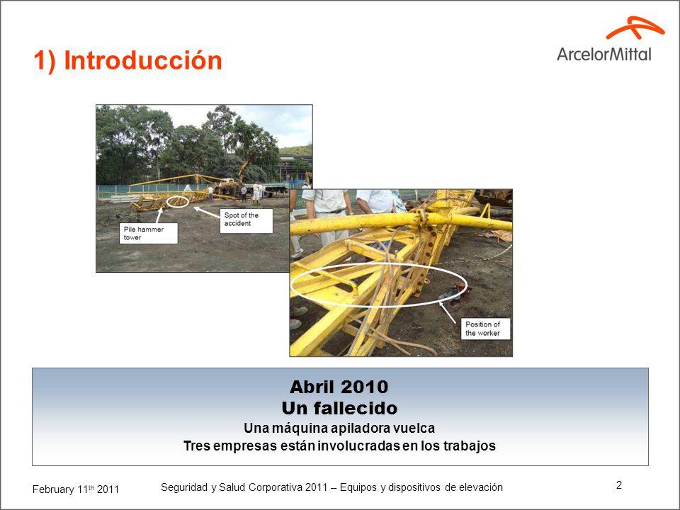 February 11 th 2011 Seguridad y Salud Corporativa 2011 – Equipos y dispositivos de elevación 1 Resumen 1) Introducción 2) Comentarios generales 3) Def