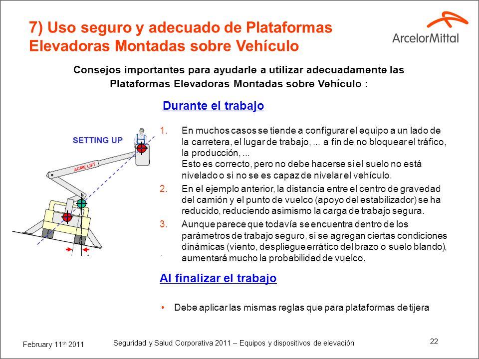February 11 th 2011 Seguridad y Salud Corporativa 2011 – Equipos y dispositivos de elevación 21 7) Uso seguro y adecuado de Plataformas Elevadoras Mon