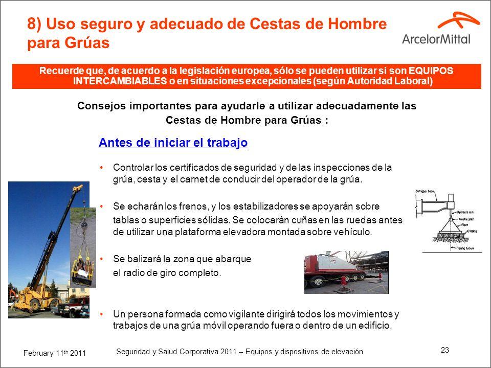 February 11 th 2011 Seguridad y Salud Corporativa 2011 – Equipos y dispositivos de elevación 22 Consejos importantes para ayudarle a utilizar adecuada