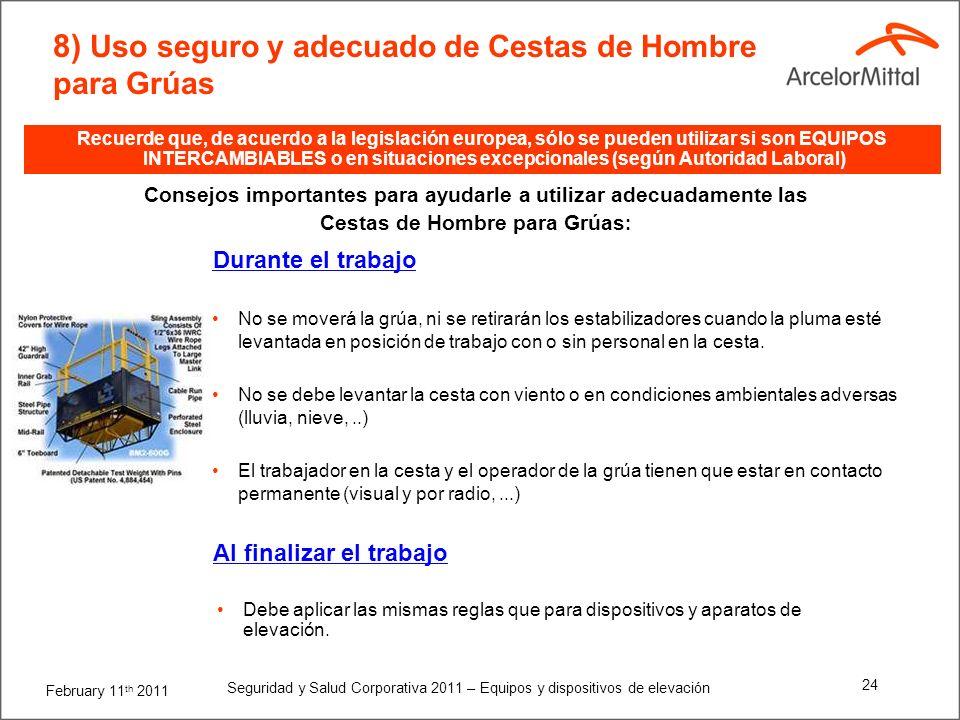 February 11 th 2011 Seguridad y Salud Corporativa 2011 – Equipos y dispositivos de elevación 23 8) Uso seguro y adecuado de Cestas de Hombre para Grúa
