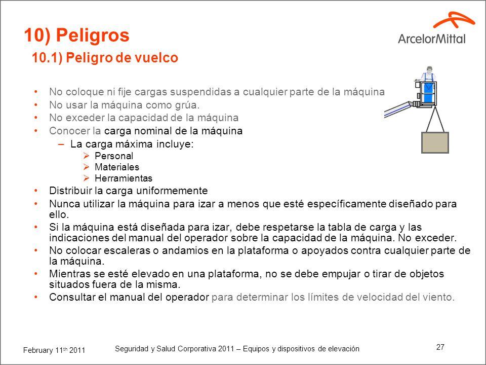 February 11 th 2011 Seguridad y Salud Corporativa 2011 – Equipos y dispositivos de elevación 26 Consejos importantes para ayudarle a utilizar adecuada