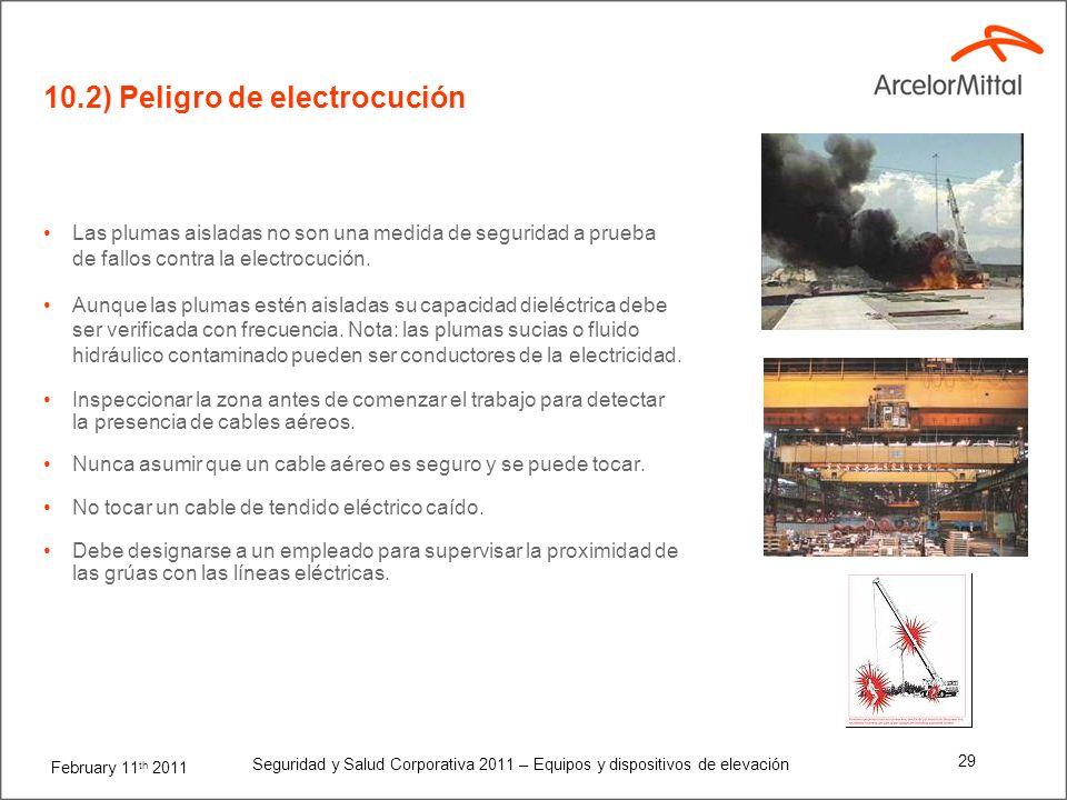 February 11 th 2011 Seguridad y Salud Corporativa 2011 – Equipos y dispositivos de elevación 28 Mantener las distancias de seguridad con las líneas de