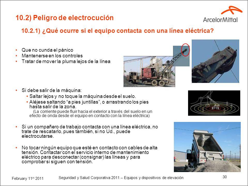 February 11 th 2011 Seguridad y Salud Corporativa 2011 – Equipos y dispositivos de elevación 29 Las plumas aisladas no son una medida de seguridad a p
