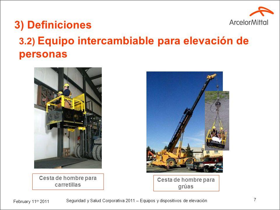 February 11 th 2011 Seguridad y Salud Corporativa 2011 – Equipos y dispositivos de elevación 6 3) Definiciones 3.1) Equipos de elevación Plataforma el