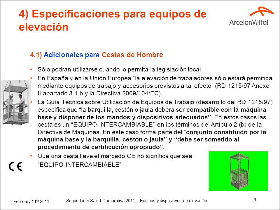 February 11 th 2011 Seguridad y Salud Corporativa 2011 – Equipos y dispositivos de elevación 19 Todo el personal debe estar alejado del camino de la plataforma de tijera.