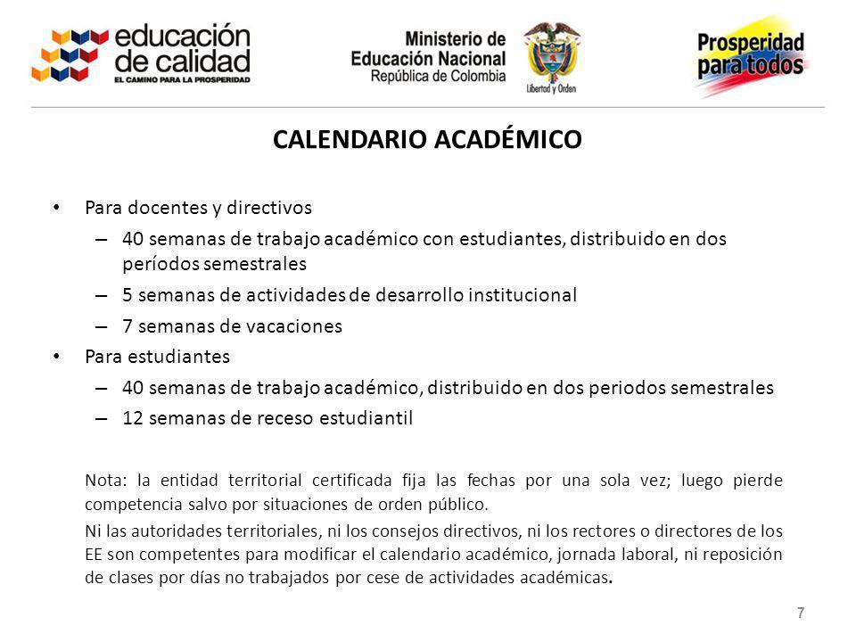 CALENDARIO ACADÉMICO Para docentes y directivos – 40 semanas de trabajo académico con estudiantes, distribuido en dos períodos semestrales – 5 semanas