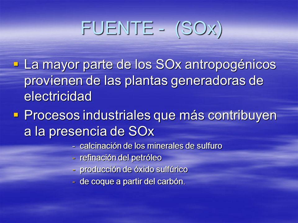 FUENTE - (SOx) La mayor parte de los SOx antropogénicos provienen de las plantas generadoras de electricidad La mayor parte de los SOx antropogénicos