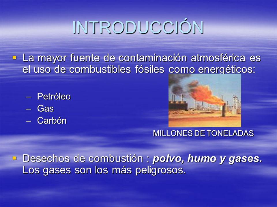 INTRODUCCIÓN La mayor fuente de contaminación atmosférica es el uso de combustibles fósiles como energéticos: La mayor fuente de contaminación atmosfé