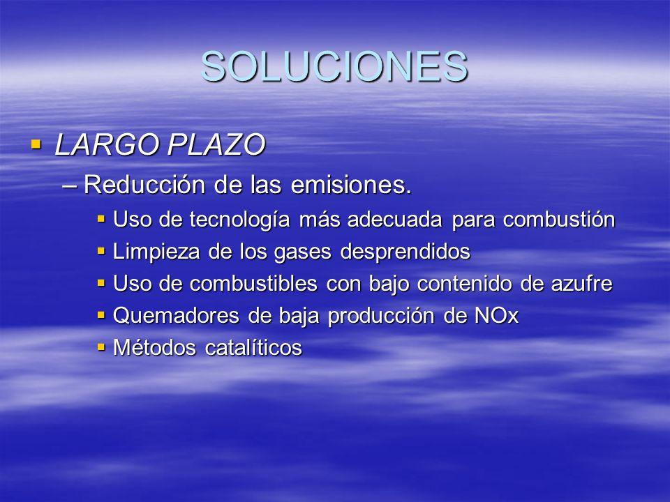 SOLUCIONES LARGO PLAZO LARGO PLAZO –Reducción de las emisiones. Uso de tecnología más adecuada para combustión Uso de tecnología más adecuada para com