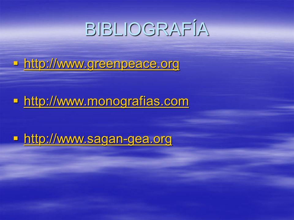 BIBLIOGRAFÍA http://www.greenpeace.org http://www.greenpeace.org http://www.greenpeace.org http://www.monografias.com http://www.monografias.com http: